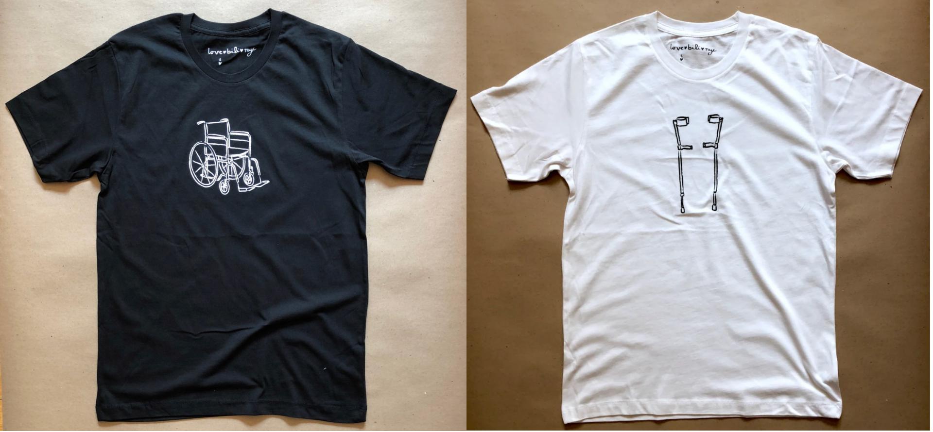 (left) A black ♡bili shirt with white wheelchair design; (right) A white ♡bili shirt with black walking sticks design